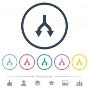 Split arrows down flat color icons in round outlines. 6 bonus icons included. - Split arrows down flat color icons in round outlines