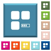 Component processing white icons on edged square buttons in various trendy colors - Component processing white icons on edged square buttons