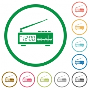 Vintage radio clock flat color icons in round outlines on white background - Vintage radio clock flat icons with outlines