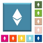 Ethereum digital cryptocurrency white icons on edged square buttons in various trendy colors - Ethereum digital cryptocurrency white icons on edged square buttons