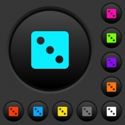 Dice three dark push buttons with vivid color icons on dark grey background