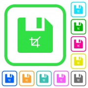 Truncate file vivid colored flat icons in curved borders on white background - Truncate file vivid colored flat icons