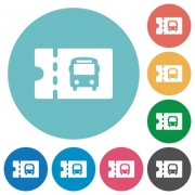 Public transport discount coupon flat white icons on round color backgrounds - Public transport discount coupon flat round icons