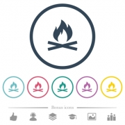 Camp fire flat color icons in round outlines. 6 bonus icons included. - Camp fire flat color icons in round outlines