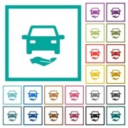 Car insurance flat color icons with quadrant frames on white background - Car insurance flat color icons with quadrant frames
