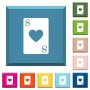 Eight of hearts card white icons on edged square buttons in various trendy colors - Eight of hearts card white icons on edged square buttons