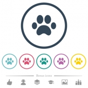 Paw prints flat color icons in round outlines. 6 bonus icons included. - Paw prints flat color icons in round outlines
