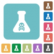 Dangerous chemical experiment white flat icons on color rounded square backgrounds - Dangerous chemical experiment rounded square flat icons