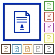 Download document flat color icons in square frames on white background - Download document flat framed icons