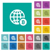 Online Bitcoin payment multi colored flat icons on plain square backgrounds. Included white and darker icon variations for hover or active effects. - Online Bitcoin payment square flat multi colored icons
