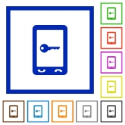 Mobile secure flat color icons in square frames on white background - Mobile secure flat framed icons