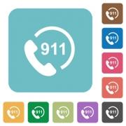 Emergency call 911 white flat icons on color rounded square backgrounds - Emergency call 911 rounded square flat icons