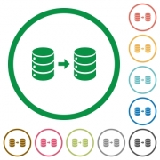 Database mirroring flat color icons in round outlines on white background - Database mirroring flat icons with outlines