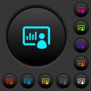 Presentation dark push buttons with vivid color icons on dark grey background - Presentation dark push buttons with color icons