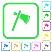 Single tomahawk vivid colored flat icons in curved borders on white background - Single tomahawk vivid colored flat icons