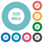500 mbit guarantee sticker flat white icons on round color backgrounds - 500 mbit guarantee sticker flat round icons