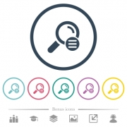 Search options flat color icons in round outlines. 6 bonus icons included. - Search options flat color icons in round outlines
