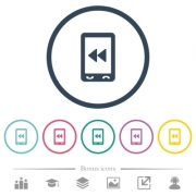 Mobile media fast backward flat color icons in round outlines. 6 bonus icons included. - Mobile media fast backward flat color icons in round outlines