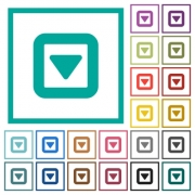 Toggle down flat color icons with quadrant frames on white background - Toggle down flat color icons with quadrant frames