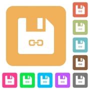 Symbolic link file flat icons on rounded square vivid color backgrounds. - Symbolic link file rounded square flat icons