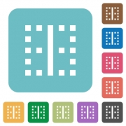 Vertical border white flat icons on color rounded square backgrounds - Vertical border rounded square flat icons