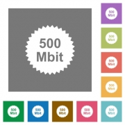 500 mbit guarantee sticker flat icons on simple color square backgrounds - 500 mbit guarantee sticker square flat icons