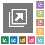 Open in new window flat icons on simple color square backgrounds - Open in new window square flat icons