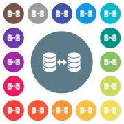 Syncronize databases flat white icons on round color backgrounds. 17 background color variations are included. - Syncronize databases flat white icons on round color backgrounds