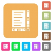 Document with content and scroll bars flat icons on rounded square vivid color backgrounds. - Document with content and scroll bars rounded square flat icons