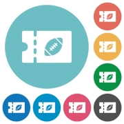 Rugby discount coupon flat white icons on round color backgrounds - Rugby discount coupon flat round icons