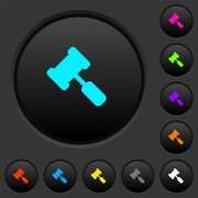 Judge hammer dark push buttons with vivid color icons on dark grey background - Judge hammer dark push buttons with color icons