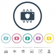 Hardware protection flat color icons in round outlines. 6 bonus icons included. - Hardware protection flat color icons in round outlines