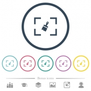 Camera sensor cleaning flat color icons in round outlines. 6 bonus icons included. - Camera sensor cleaning flat color icons in round outlines