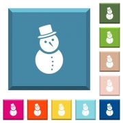 Snowman white icons on edged square buttons in various trendy colors - Snowman white icons on edged square buttons