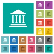 Bank office building multi colored flat icons on plain square backgrounds. Included white and darker icon variations for hover or active effects. - Bank office building square flat multi colored icons