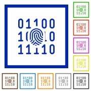 Digital fingerprint flat color icons in square frames on white background - Digital fingerprint flat framed icons