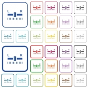 Audio balance control color flat icons in rounded square frames. Thin and thick versions included. - Audio balance control outlined flat color icons