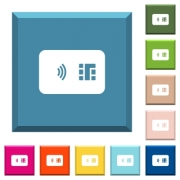 NFC chip card white icons on edged square buttons in various trendy colors - NFC chip card white icons on edged square buttons