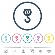 Construction hook flat color icons in round outlines. 6 bonus icons included. - Construction hook flat color icons in round outlines