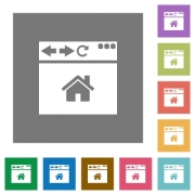 Browser home page flat icons on simple color square backgrounds - Browser home page square flat icons