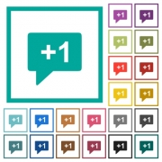 Plus one sign flat color icons with quadrant frames on white background - Plus one sign flat color icons with quadrant frames