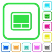 Laptop touchpad vivid colored flat icons in curved borders on white background - Laptop touchpad vivid colored flat icons