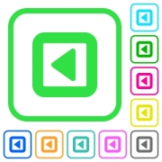 Toggle left vivid colored flat icons in curved borders on white background - Toggle left vivid colored flat icons