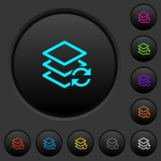 Swap layers dark push buttons with vivid color icons on dark grey background - Swap layers dark push buttons with color icons
