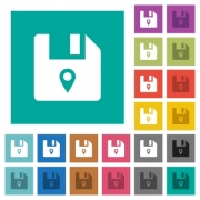 File location multi colored flat icons on plain square backgrounds. Included white and darker icon variations for hover or active effects. - File location square flat multi colored icons