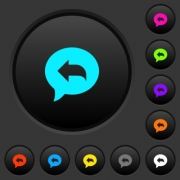 Reply message dark push buttons with vivid color icons on dark grey background - Reply message dark push buttons with color icons