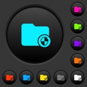 Directory protection dark push buttons with vivid color icons on dark grey background