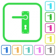 Left handed door handle with screws vivid colored flat icons in curved borders on white background - Left handed door handle with screws vivid colored flat icons