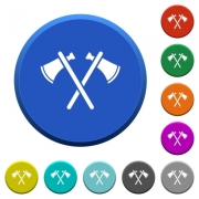Two tomahawks round color beveled buttons with smooth surfaces and flat white icons - Two tomahawks beveled buttons