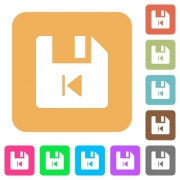 File previous flat icons on rounded square vivid color backgrounds. - File previous rounded square flat icons